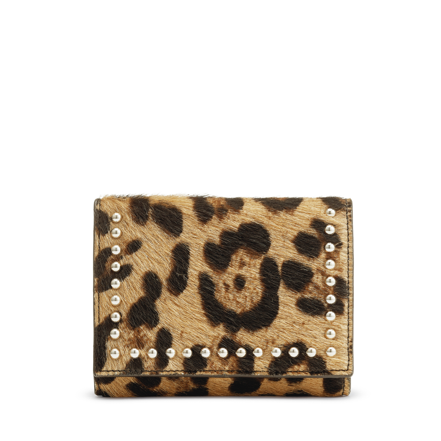 Folded Wallet with Studs Leopard  / ヘアオンカーフ