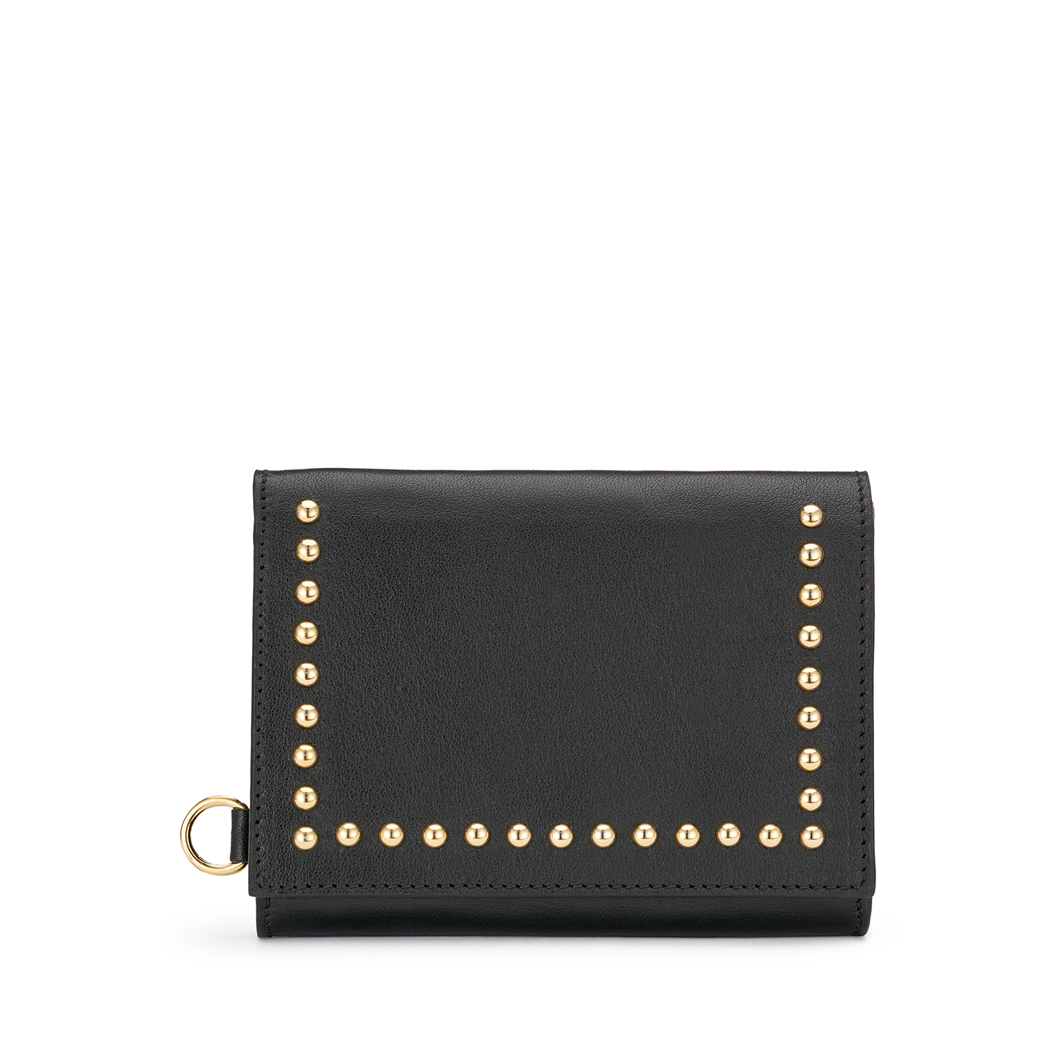 Folded Wallet with Studs Black / カーフ