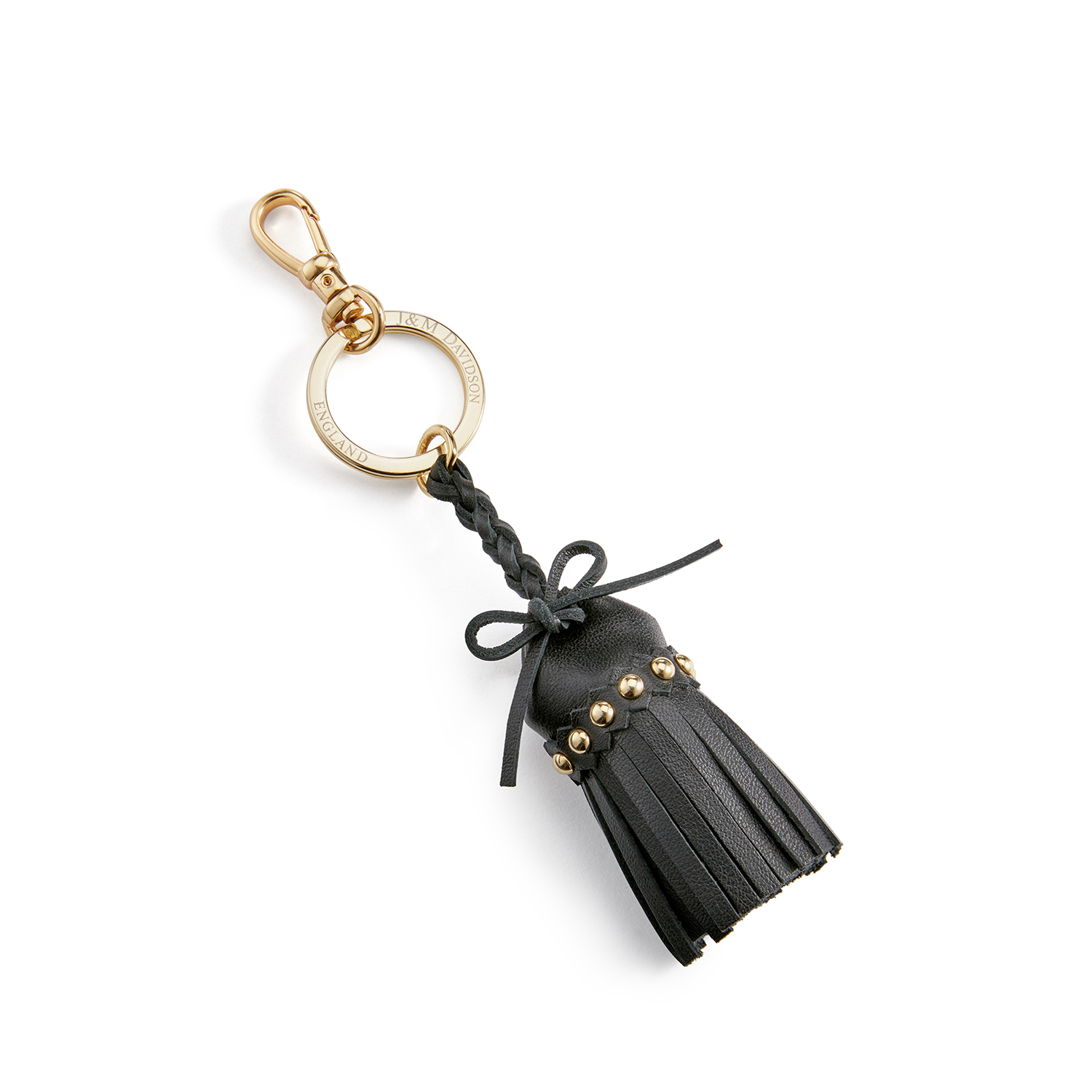 Tassel Keyring with Studs Black / カーフ