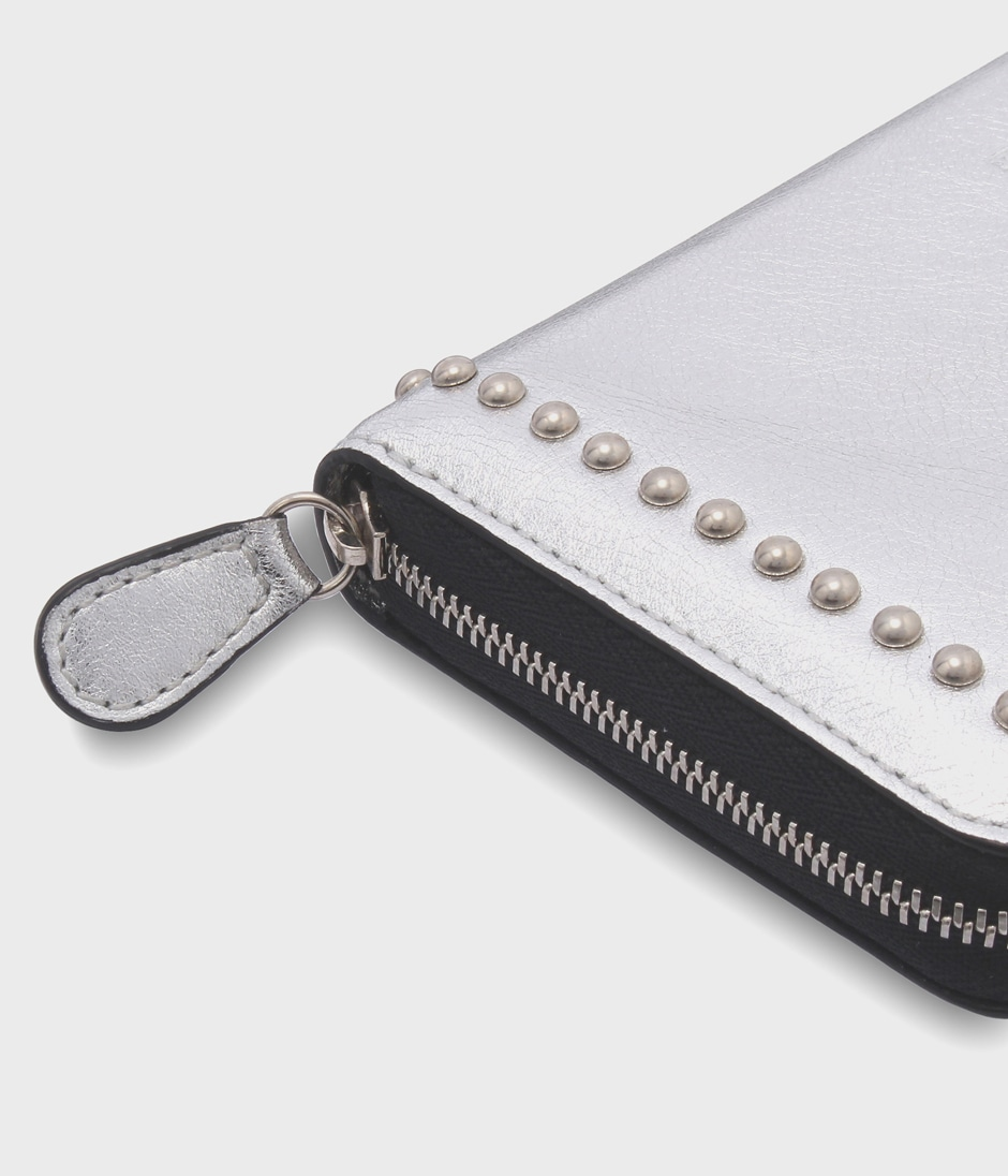 ELONGATED ZIP WALLET WITH STUDS 詳細画像 SILVER 5