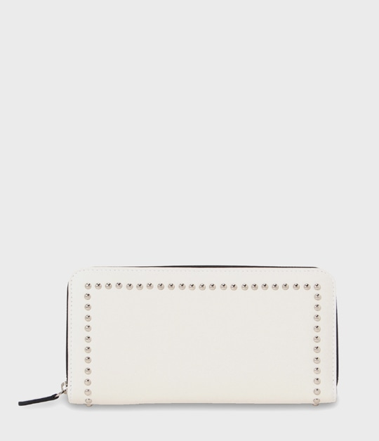 ELONGATED ZIP WALLET WITH STUDS