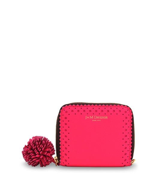SQUARE WALLET WITH POMPOM