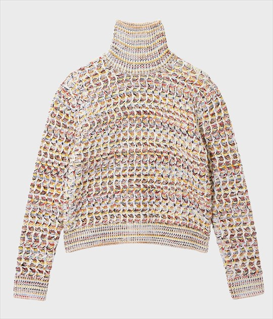 HONEYCOMB TURTLE NECK KNIT