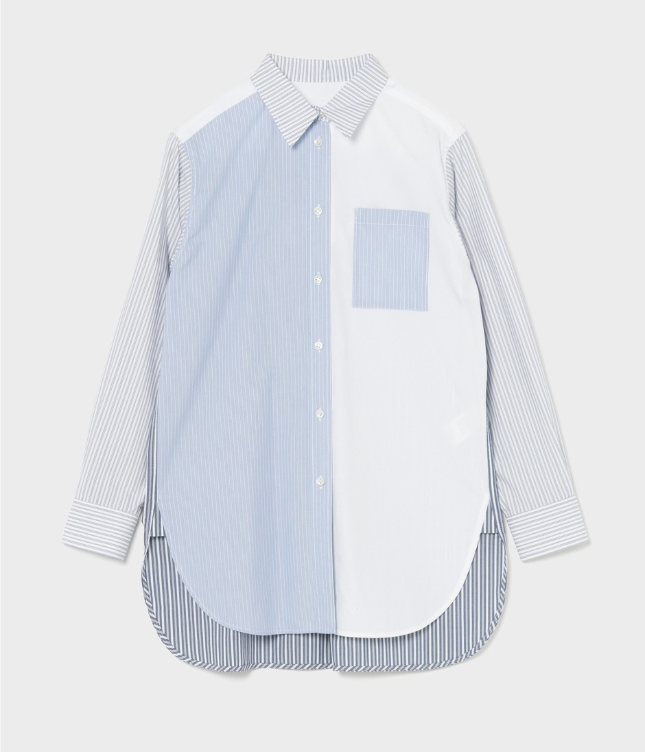 PATCH WORK SHIRT WITH TIE 詳細画像 BLUE 2